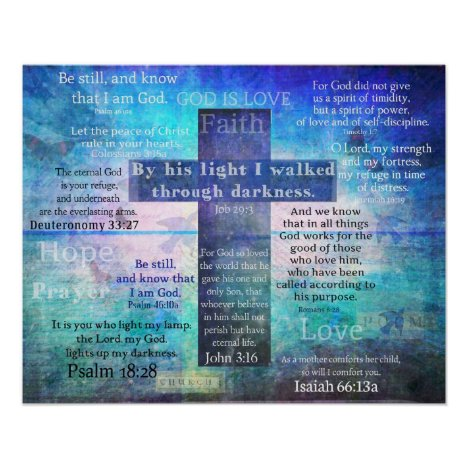 Favorite Bible Verses with Christian Cross Poster