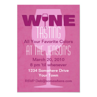 "Favorite Color Is Wine Tasting Invitation 5"" X 7"" Invitation Card"