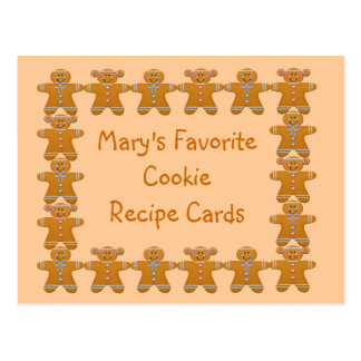 Favorite Cookie Recipe Cards~Gingerbread~Customize Postcard