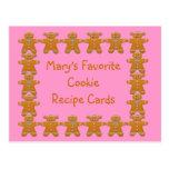Favorite Cookie Recipe Cards~Gingerbread~Customize Postcard