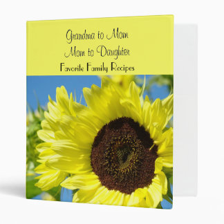 Favorite Family Recipes binder Moms Sunflowers