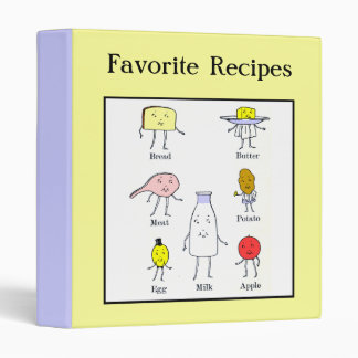 Favorite Foods Vintage Art Custom Recipe Binder