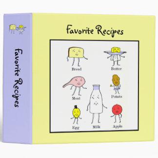 Favorite Foods Vintage Art Custom Recipe Binder