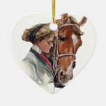 Favorite Horse Double-Sided Heart Ceramic Christmas Ornament