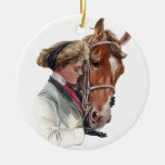 Favorite Horse Double-Sided Ceramic Round Christmas Ornament