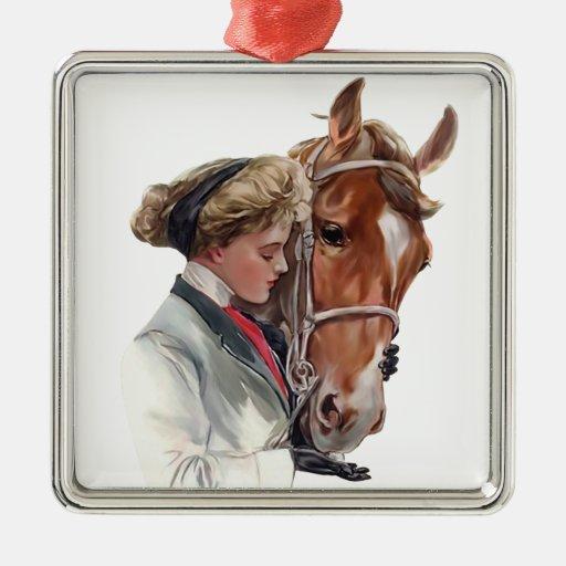Favorite Horse Square Metal Christmas Ornament