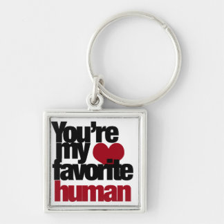Favorite Human Love Silver-Colored Square Keychain