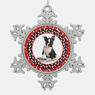 Favorite Pet Dog Photo Bones and Paw Prints Snowflake Pewter Christmas Ornament