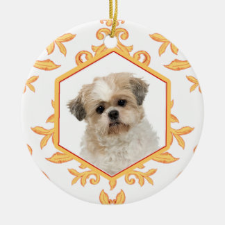 Favorite Pets Gilded Damask Dog / Cat Photo Double-Sided Ceramic Round Christmas Ornament