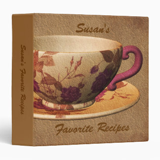 Favorite Recipes Floral Tea Cup Binder