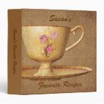 Favorite Recipes Vintage Floral Tea Cup Binder