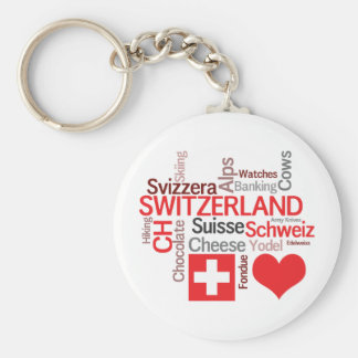 Favorite Swiss Things - I Love Switzerland Basic Round Button Keychain