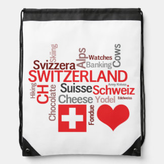 Favorite Swiss Things - I Love Switzerland Drawstring Bag