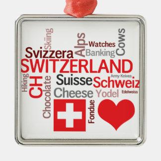 Favorite Swiss Things - I Love Switzerland Metal Ornament
