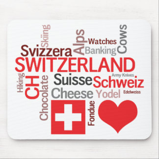 Favorite Swiss Things - I Love Switzerland Mouse Pad