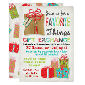 White elephant exchange invitations announcements zazzle favorite things christmas gift exchange card negle Gallery
