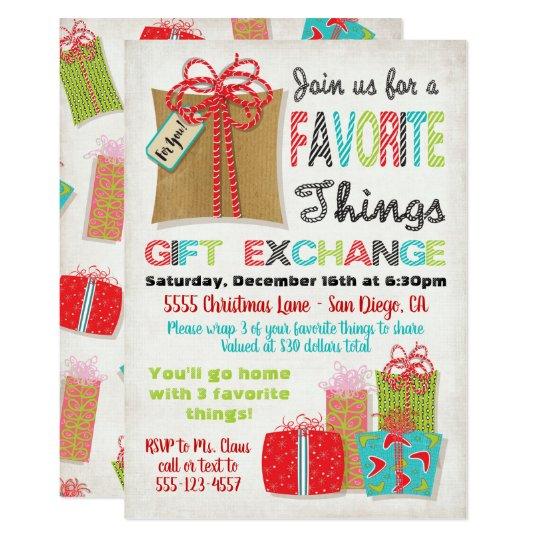 Favorite things Christmas Gift Exchange Invitation   Zazzle.com