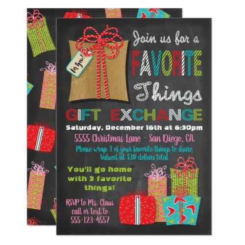 Favorite things Christmas Gift Exchange Invitation