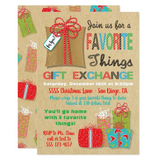 Christmas Gift Exchange.Favorite Things Christmas Gift Exchange Invitation