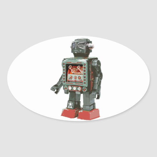 Favorite Toy Robot w Canons Oval Sticker
