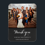 "Favorite Wedding Photo Thank You Magnet<br><div class=""desc"">Share you favorite wedding photo with your wedding guests,  friends,  family and wedding party with these custom photo magnets! Say thank you with your own personal message.</div>"