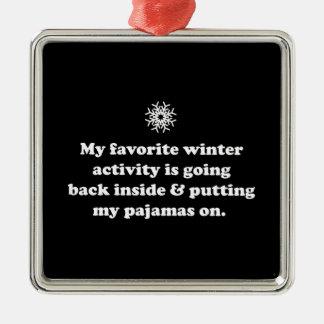Favorite Winter Activity Square Metal Christmas Ornament