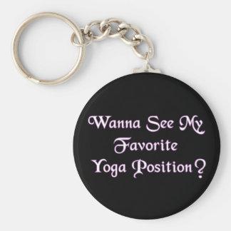 Favorite Yoga Position - Funny Adult Humor Keychain