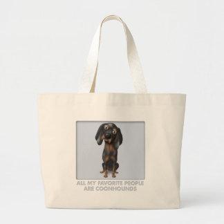 Favorito del Coonhound (negro y moreno) Bolsa Tela Grande