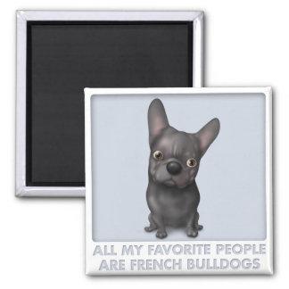 Favorito (negro) del dogo francés imán cuadrado