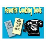favorito que cocina las herramientas tarjetas postales