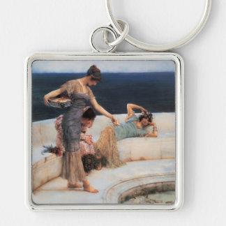 Favoritos de plata de Lawrence Alma-Tadema Llavero Cuadrado Plateado