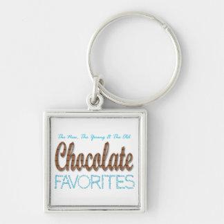 Favoritos del chocolate llavero cuadrado plateado