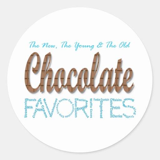 Favoritos del chocolate pegatina redonda