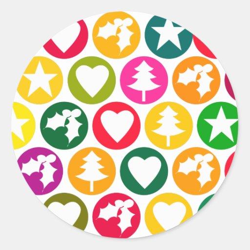 Favoritos del navidad brillantes etiquetas redondas