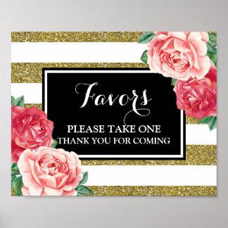 Favors Baby Shower Sign Black Gold Pink Floral