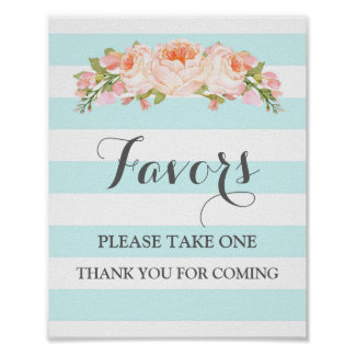 Favors Baby Shower Sign Blue Flowers Stripes