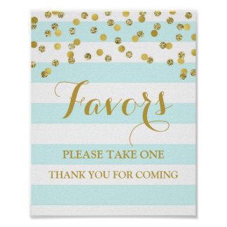 Favors Baby Shower Sign Blue Stripe Gold Confetti