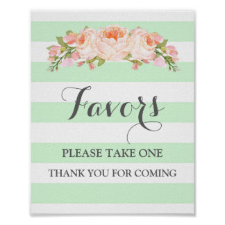 Favors Baby Shower Sign Mint Flowers Stripes Poster