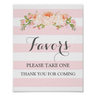 Favors Baby Shower Sign Pink Flowers Stripes Poster
