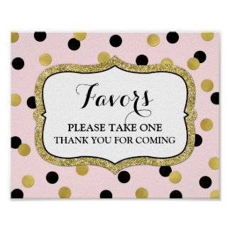 Favors Baby Shower Sign Pink Gold Black Confetti
