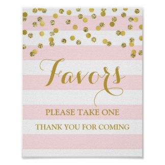 Favors Baby Shower Sign Pink Stripes Gold Confetti Poster