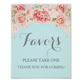 Favors Baby Shower Sign Pink Watercolor Blue