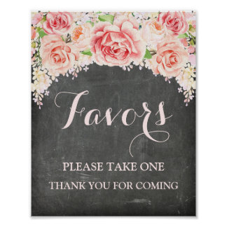 Favors Baby Shower Sign Pink Watercolor Chalkboard