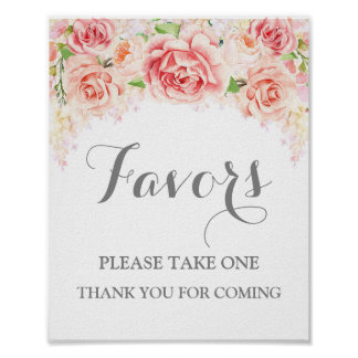 Favors Baby Shower Sign Pink Watercolor Floral