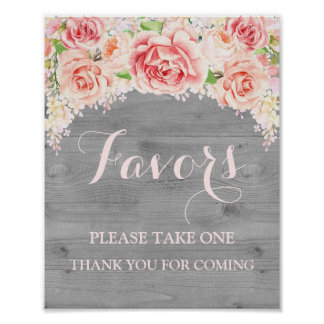 Favors Baby Shower Sign Pink Watercolor Wood