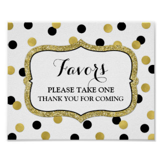 Favors Baby Shower Sign White Gold Black Confetti