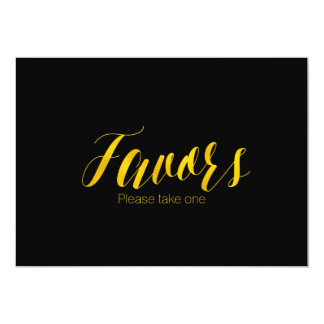 """Favors"" Faux Gold Foil Chic Wedding Sign Card"