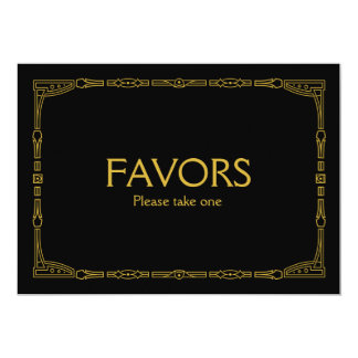 """Favors"" Gold Art Deco Style Wedding Sign Card"