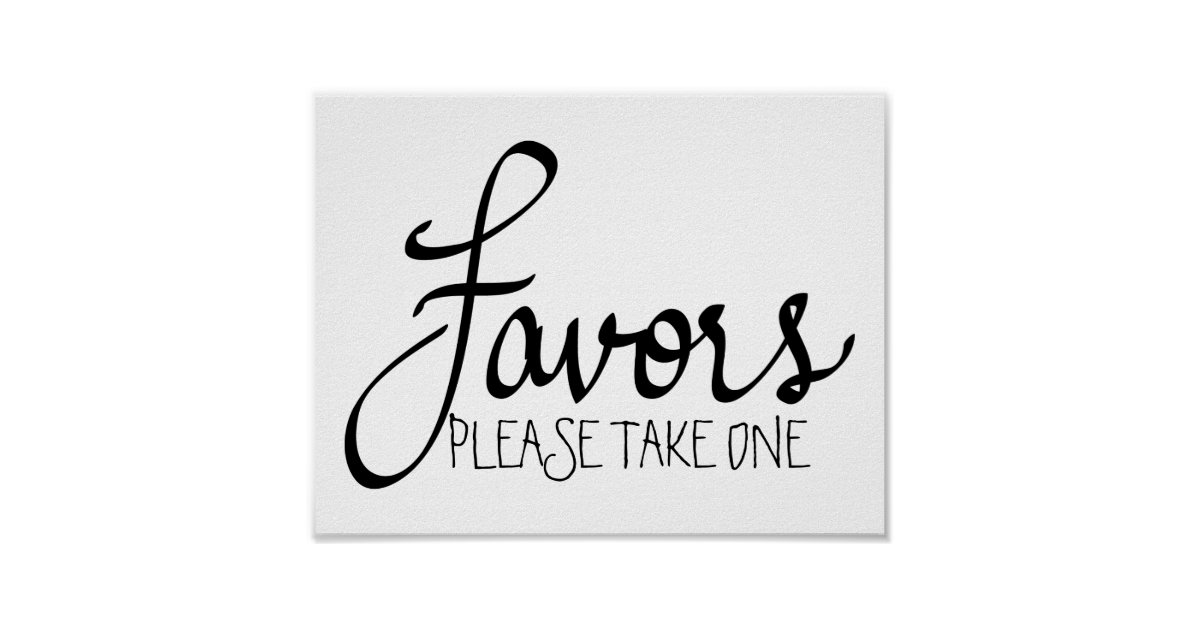 Favors modern wedding simple calligraphy poster zazzle