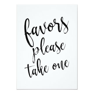 Favors Please Take One Affordable Sign Card